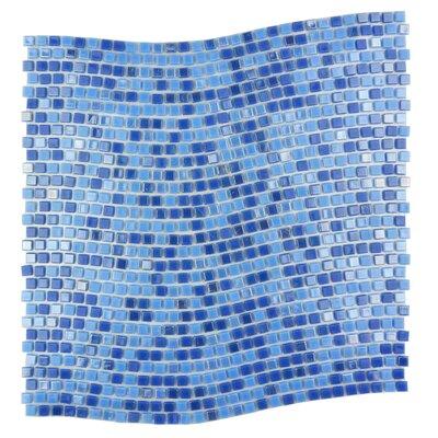 Galaxy Wavy 0.31 x 0.31 Glass Mosaic Tile in Glazed Blue