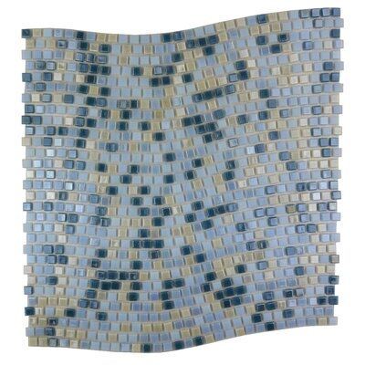 Galaxy Wavy 0.31 x 0.31 Glass Mosaic Tile in Glazed Blue and Beige