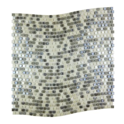 Galaxy Wavy 0.31 x 0.31 Glass Mosaic Tile in Gray/Cream