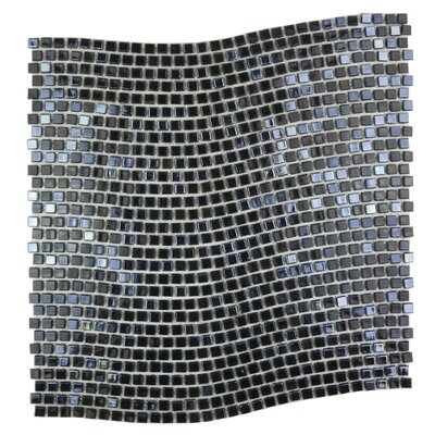 Galaxy Wavy 0.31 x 0.31 Glass Mosaic Tile in Dark Gray