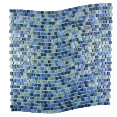 Galaxy Wavy 0.31 x 0.31 Glass Mosaic Tile in Glazed Blue