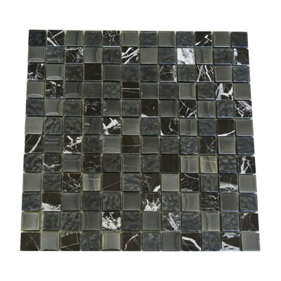 Quartz 1 x 1 Glass and Stone  Mosaic Tile in Black