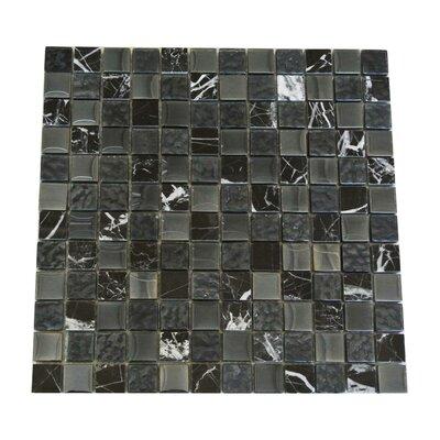 Quartz 1 x 1 Glass and Stone  Mosaic Tile in Black