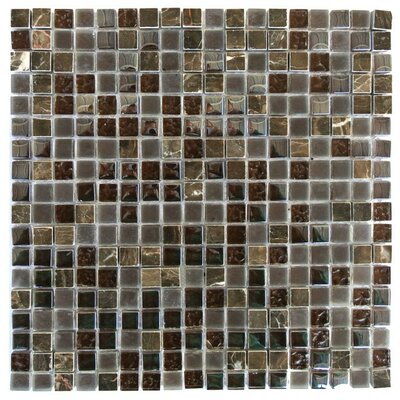 Quartz 0.63 x 0.63 Glass and Stone Mosaic Tile in Cioccolato