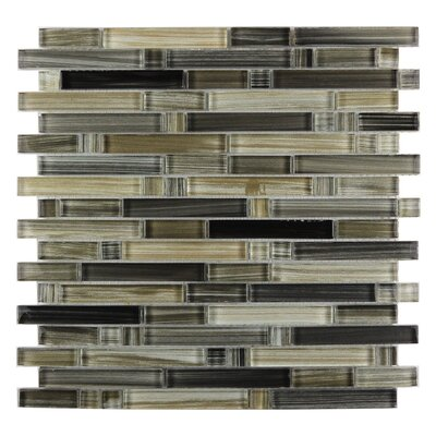 Handicraft II Random Sized Glass Mosaic Tile in Glazed Black Sea