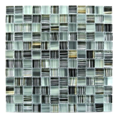 Handicraft 1 x 1 Glass Mosaic Tile in Black Gold