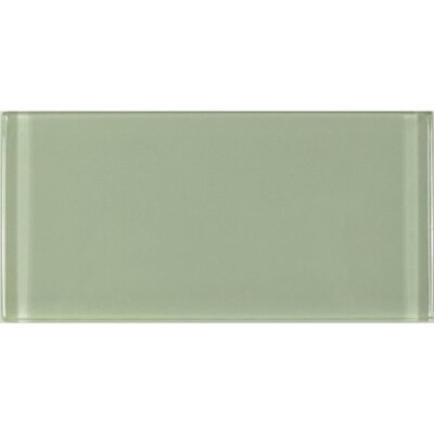 Metro 3 x 6 Glass Subway Tile in Celery