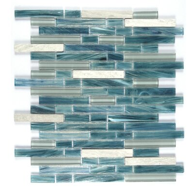 Ice Honey Berries Random Sized Glass Mosaic Tile in Blue/White