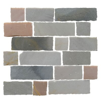 Ardesia Random Sized Slate Splitface Tile in Desert Grey
