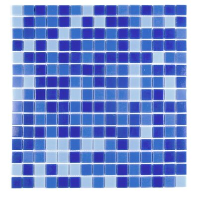 Swimming Pool 0.63 x 0.63 Glass Mosaic Tile in Alice Blue