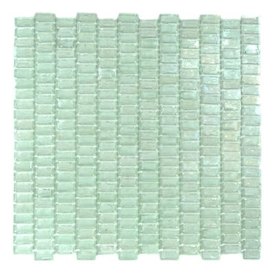 Classic Recycled 12.81 x 12.31 Glass Mosaic Tile in Glazed Iceberq