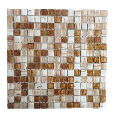 Bon Appetit 0.75 x 0.75 Glass Mosaic Tile in Brown/White Mix