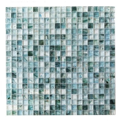 4D Cube 0.63 x 0.63 Glass Mosaic Tile in Blue
