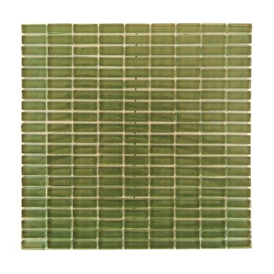 Epiphany 0.5 x 1.25 Glass Mosaic Tile in Glazed Green