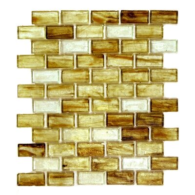 Classic Recycled 11.88 x 10.75 Glass Mosaic Tile in Brown Gold