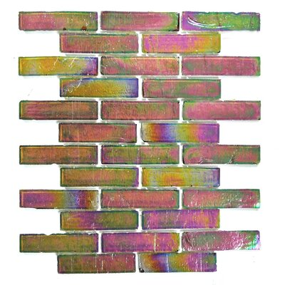 Bamboo 1 x 4 Glass Mosaic Tile in Green Pink