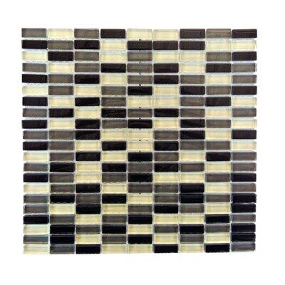 Epiphany 0.5 x 1.25 Glass Mosaic Tile in Black/Gray/White Mix