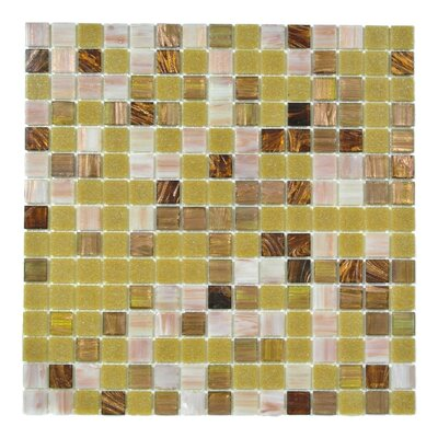 Bon Appetit 0.75 x 0.75 Glass Mosaic Tile in Gold/White/Brown Mix
