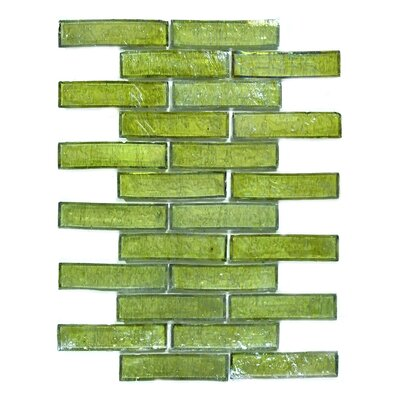 Bamboo 1 x 4 Glass Mosaic Tile in Green