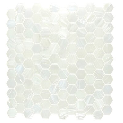 Hexagon 11.33 x 10.75 Glass Mosaic Tile in White Pearl Diamond