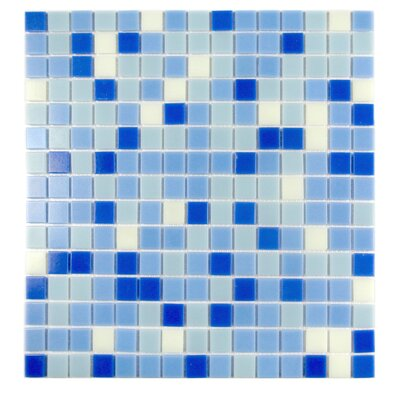 Swimming Pool 0.63 x 0.63 Glass Mosaic Tile in Blizzard Blue