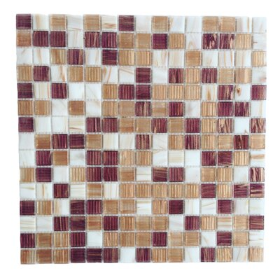 Bon Appetit 0.75 x 0.75 Glass Mosaic Tile in White/Brown/ Beige Mix