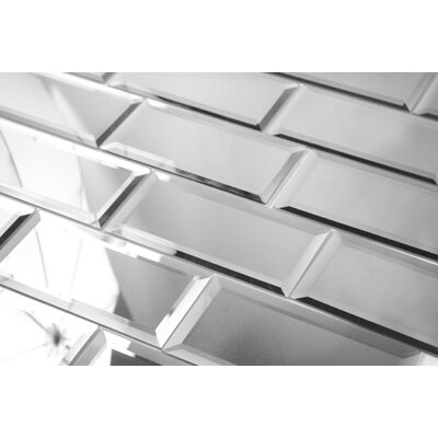 "Abolos Reflections 3"" x 6"" Mirror Glass Subway Tile in Silver WHSREF0306-SI"