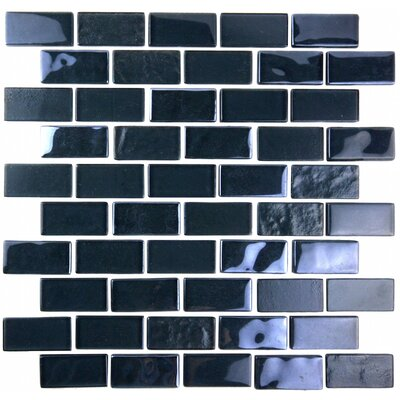 Landscape 1 x 2 Glass Mosaic Tile in Dark Gray