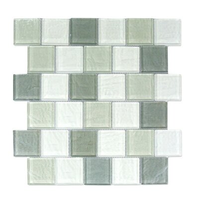Geo 2 x 2 Glass Mosaic Tile in Blue Gray