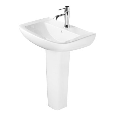 24 Pedestal Bathroom Sink with Overflow