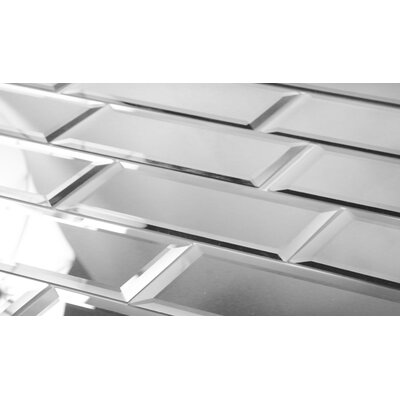 Echo 3 x 12 Mirror Glass Tile in Silver