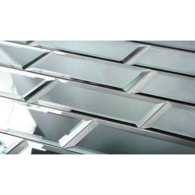 Echo 3 x 12 Mirror Glass Mosaic Tile in Graphite