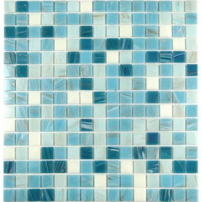 Swimming Pool 0.63 x 0.63 Glass Mosaic Tile in Blue Chalk