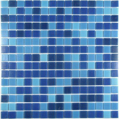 Swimming Pool 0.75 x 0.75 Glass Mosaic Tile in Superiority Blue