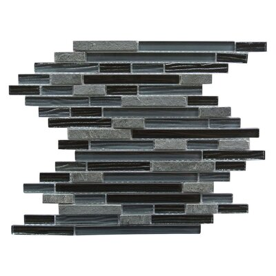New Era II Random Sized Glass and Slate Mosaic Tile in Black Hole