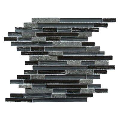 New Era II Random Sized Glass and Slate Mosaic Tile in Black Hole