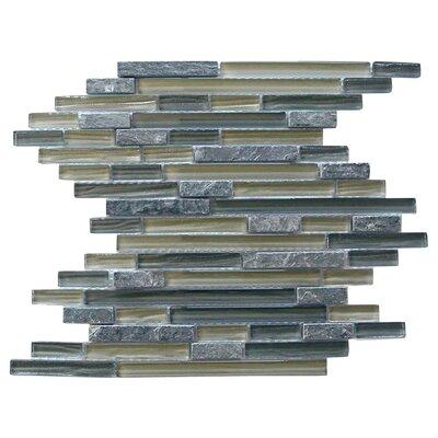 New Era II Random Sized Glass and Slate Mosaic Tile in Gray