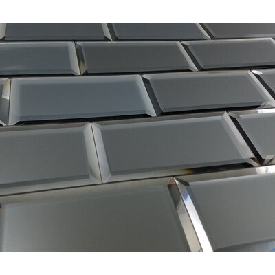 Echo 3 x 6 Matte Mirror Glass Subway Tile in Graphite