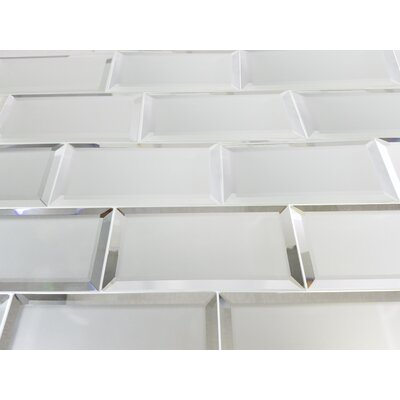 Echo 3 x 6 Glass Subway Tile in Silver Matte