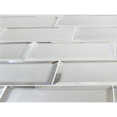 Echo  3 x 12 Glass Subway Tile in Silver Matte