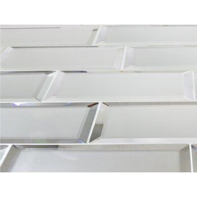 Echo  3 x 12 Mirror Glass Field Tile in Silver Matte