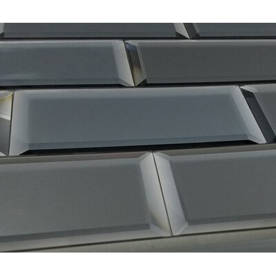 Echo Matte 4 x 12 Mirror Glass Subway Tile in Graphite