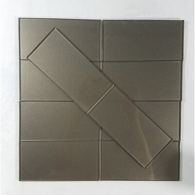 Metallic 3 x 6 Glass Subway Tile in Glossy Smooth