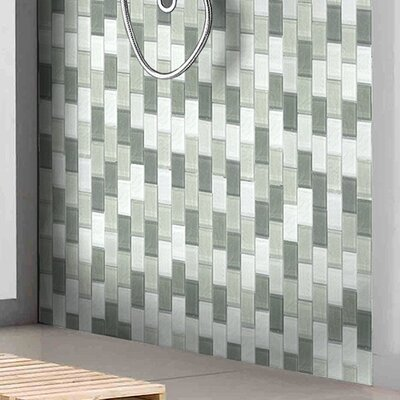 Geo 1 x 2 Glass Mosaic Tile in Blue Gray