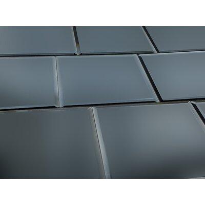 Echo 8 x 8 Glass Subway Tile in Graphite Matte