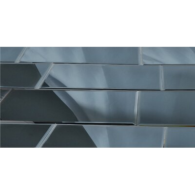 Echo 12 x 36 Mirror Glass Field Tile in Graphite