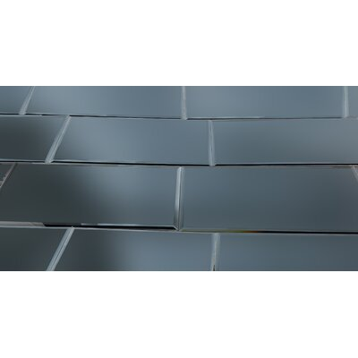Echo 8 x 16 Mirror Glass Field Tile in Graphite Matte