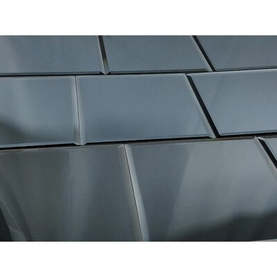 Echo 8 x 8 Mirror Glass Tile in High Gloss Graphite