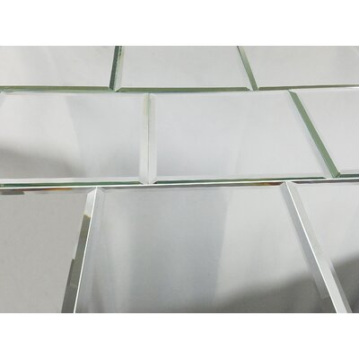 Echo 8 x 8 Mirror Glass Tile in High Gloss Silver