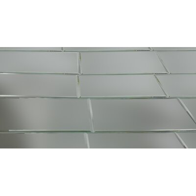 Echo 8 x 16 Mirror Glass Field Tile in Silver Matte
